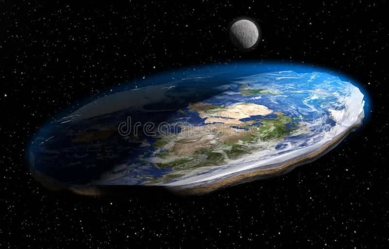 Flat Earth Theory 3D Illustration. A 3D illustration of the now debunked competing conspiracy theory that the Earth is flat, as it appears from land, rather than vector illustration