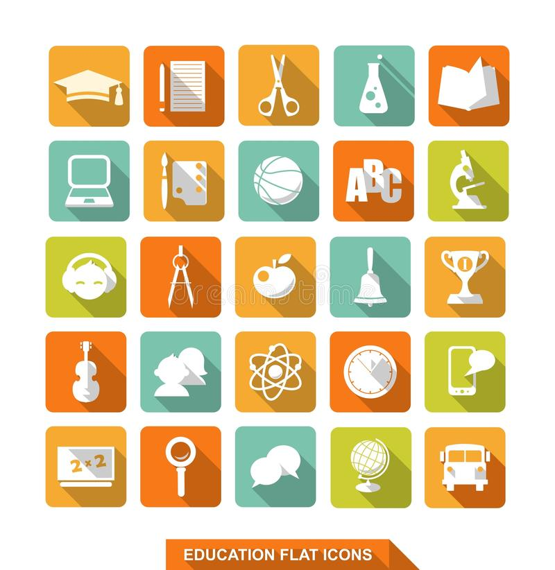 Flat education icons with shadow stock illustration