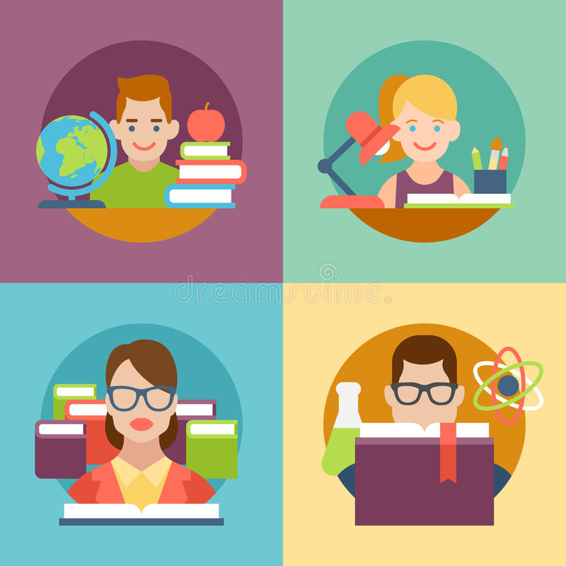 Book Icon Vector Male Student Or Teacher Person Profile: Flat Education Student Pupil Kid Parent Teacher Stock