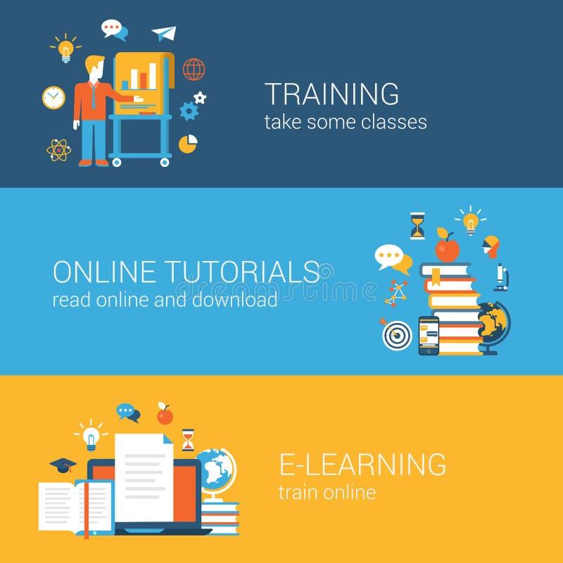 Flat education, training, online tutorial, e-learning concept vector illustration