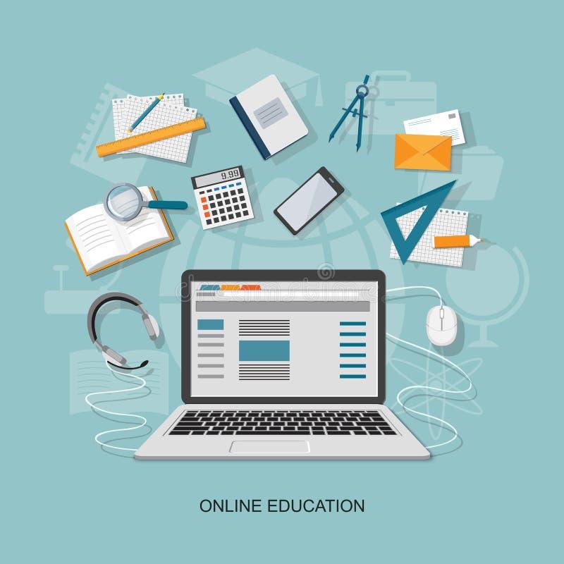 Flat elements of education royalty free illustration