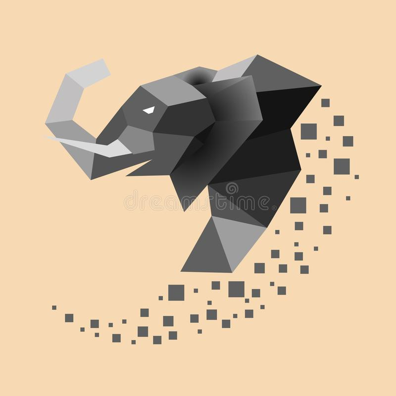 Flat elephant with trunk up. Low poly vector illustration vector illustration