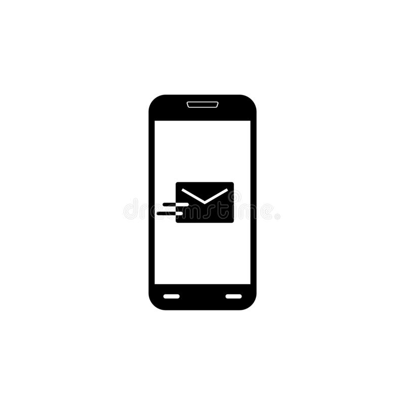 Flat email notification on smartphone icon or logo vector illustration