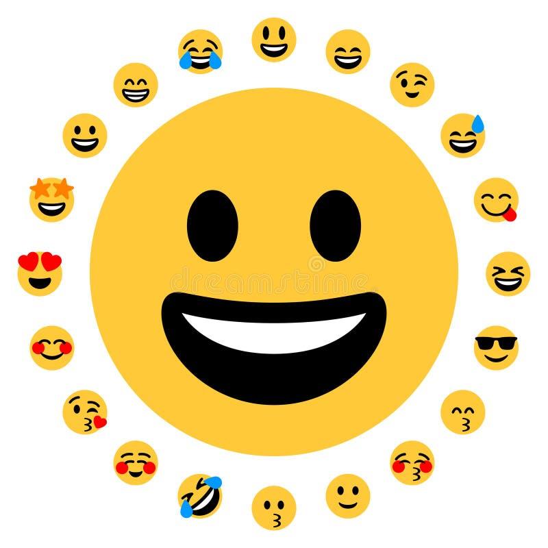 Download 20 Flat Emoji Smileys Face Positive Stock Vector - Illustration of facial, internet: 118054587