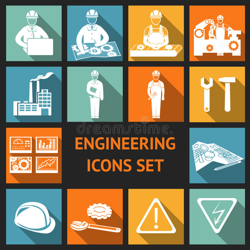 Download Flat Engineering Icons Set stock vector. Illustration of gear - 39502992