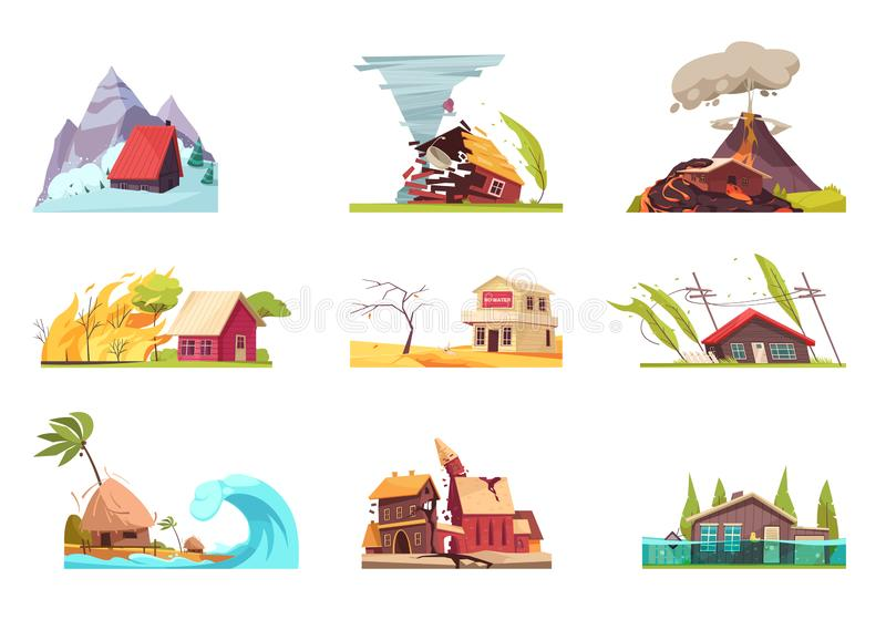 Flat Environmental Incidents Set. Natural disasters set of nine isolated images with outdoor compositions of living houses under different conditions vector stock illustration