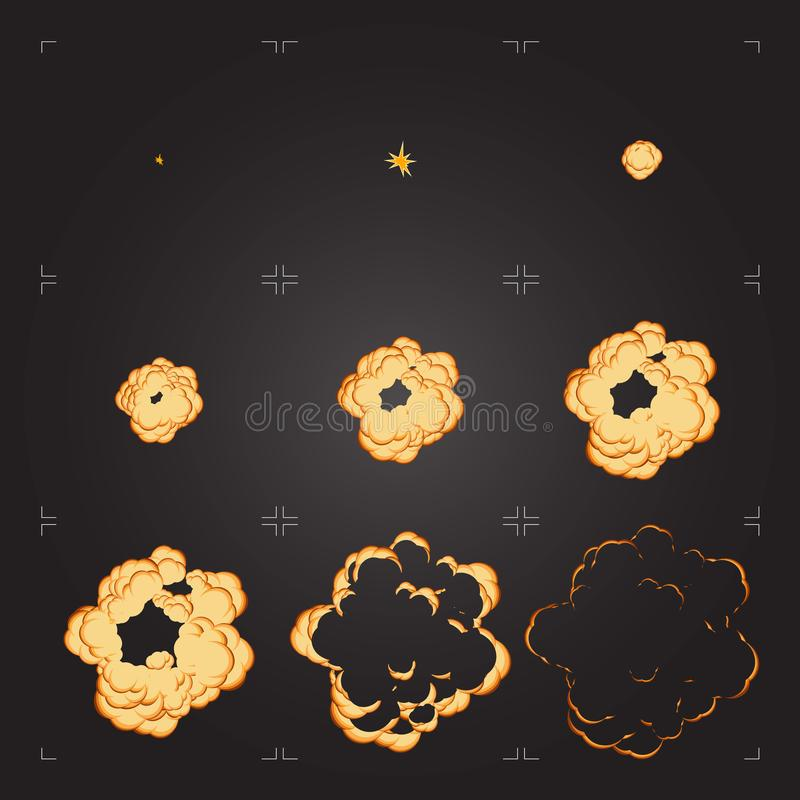 Cartoon explosion sprite sheet animation. Design element for game or animation. Flat explosion sprite sheet. Cartoon frames of a bang animation. Isolated design stock illustration