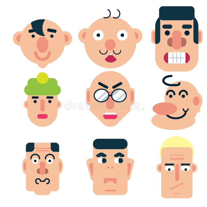 Flat face icon set royalty free illustration