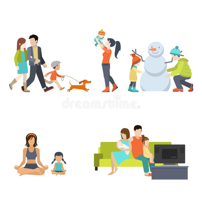 Flat Family. Having fun, making snowman and gymnastic exercises, walking with dog, watching TV vector illustration set. Casual life parenting concept vector illustration