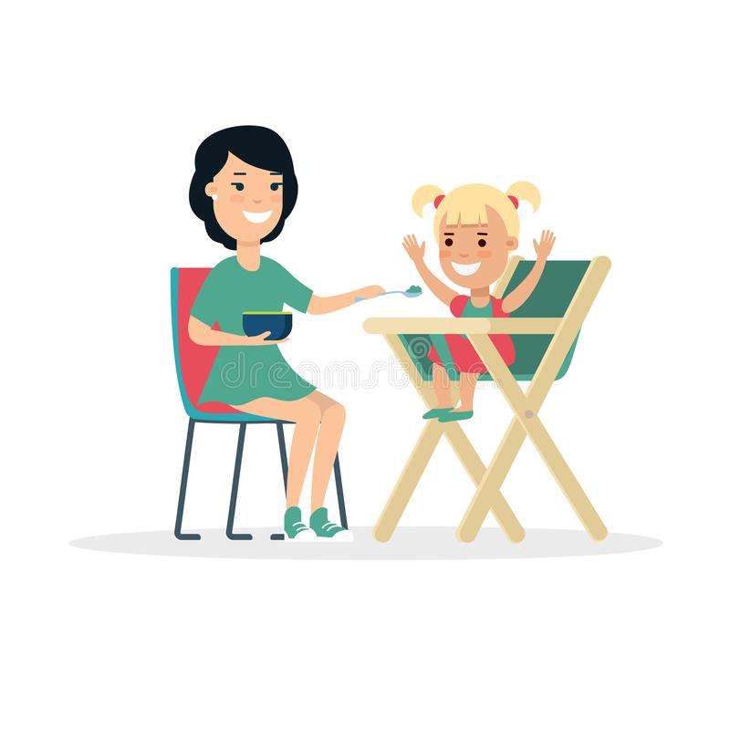 Flat Family Mother feeding baby daughter child in royalty free illustration