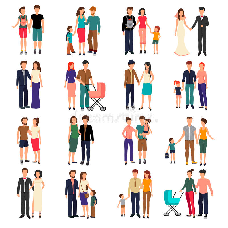 Flat Family Set. Heterosexual couples and families with children flat set isolated on white background vector illustration royalty free illustration