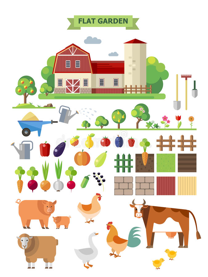 Flat farm with farmhouse vector illustration