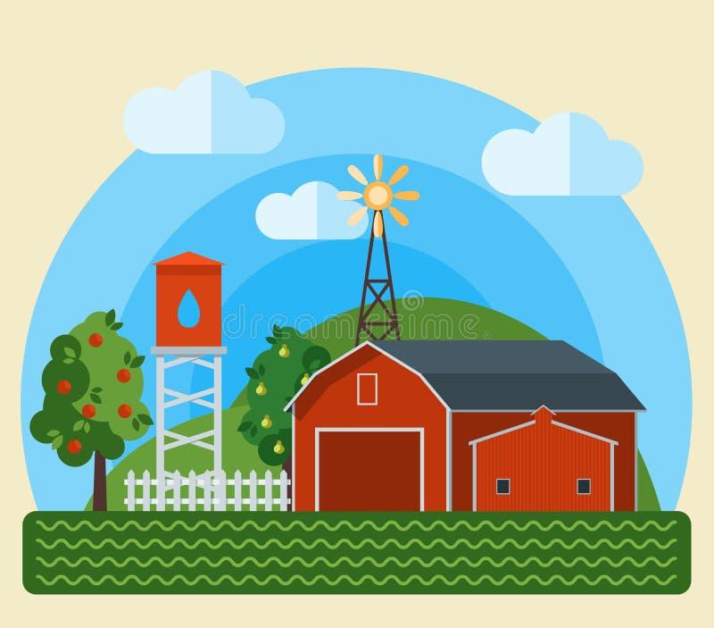 Download Flat Farm Landscape Stock Vector Illustration Of Agriculture
