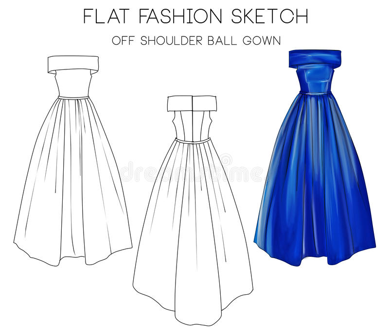Flat fashion sketch of formal ball gown.  vector illustration