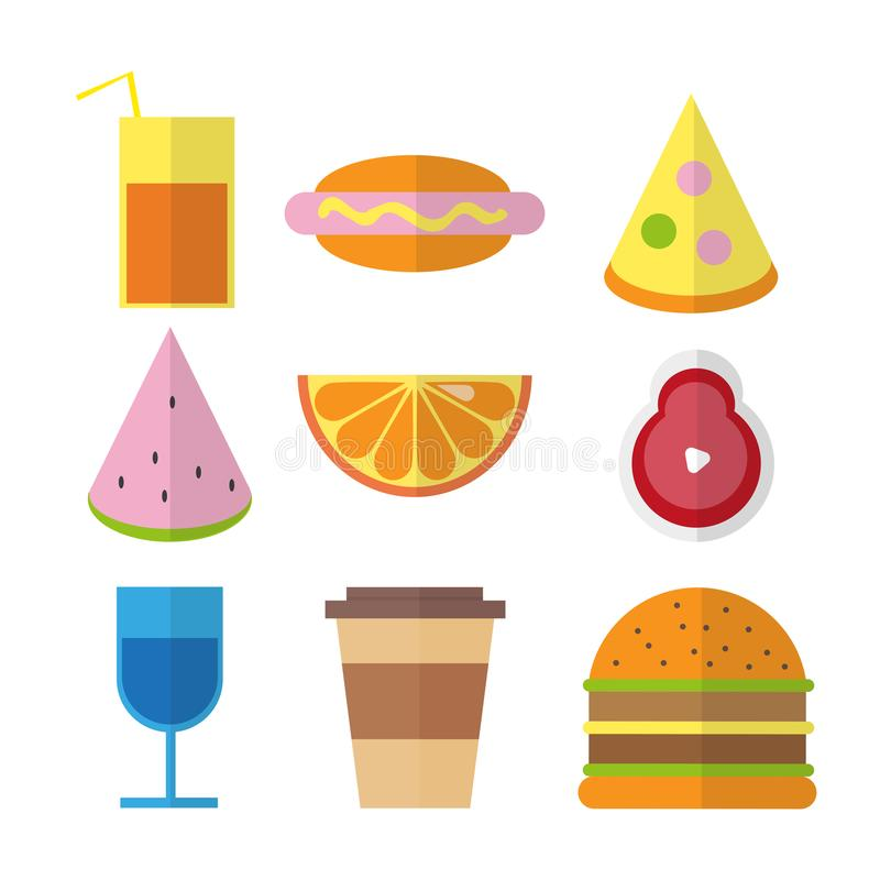 Flat fast food colorful illustrations in bright colors stock illustration