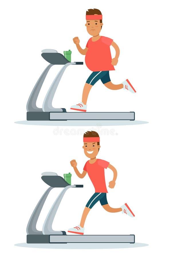 Flat fat man weight loss. Running treadmill before. Flat fat man weight loss modern infographics concept. Male guy running on treadmill before after set. Healthy royalty free illustration