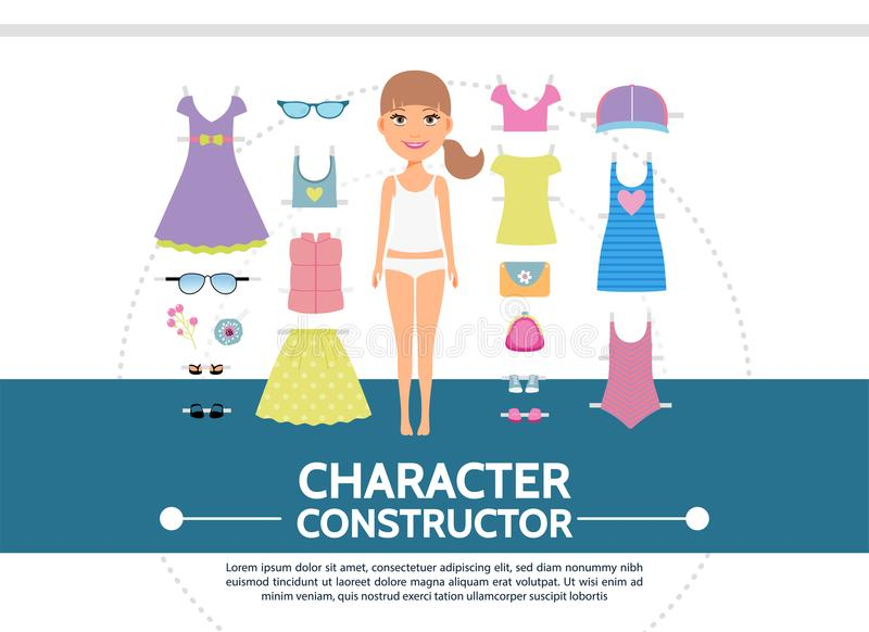 Flat Female Character Creation Round Concept. With attractive girl dress skirt shirt sunglasses clutch sneakers handbag brooch isolated vector illustration stock illustration