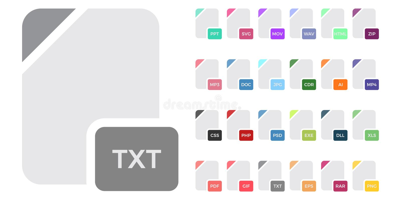 File Types Icons Stock Illustrations – 325 File Types Icons