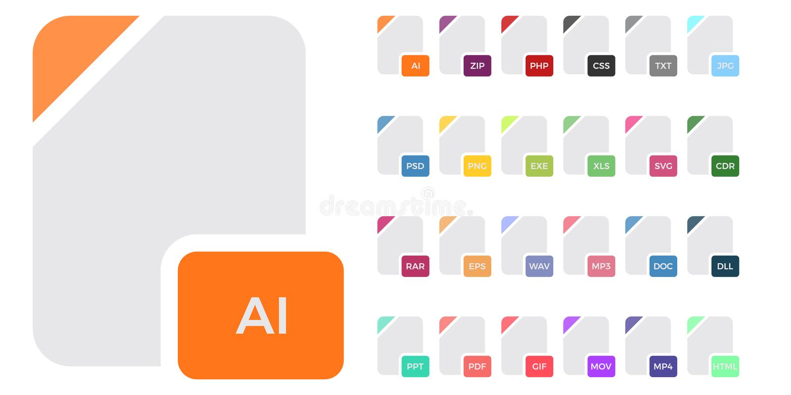 Image File Types Formats Labels Icon Set  Stock Vector