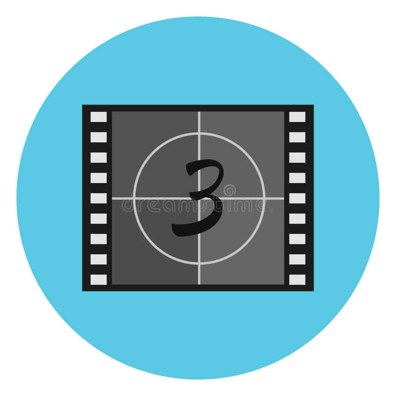 Flat film countdown symbol on video tape, film leader, head leader royalty free illustration