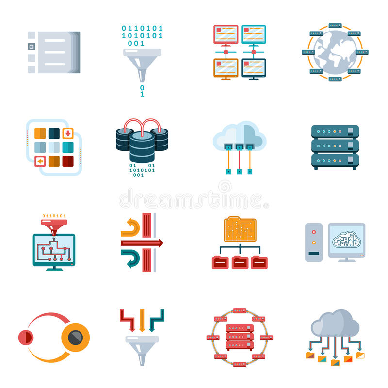 Flat Filtering Data Icons. Colored Flat Filtering Data Icons Set on White Background stock illustration