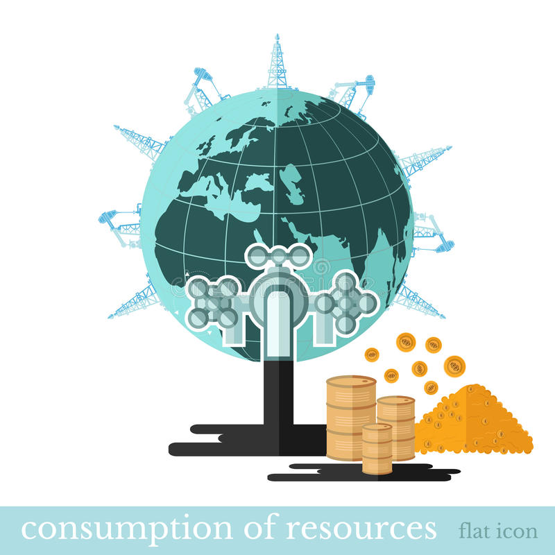 Flat financial icon draining resources.Tap draining oil from Earth stock illustration