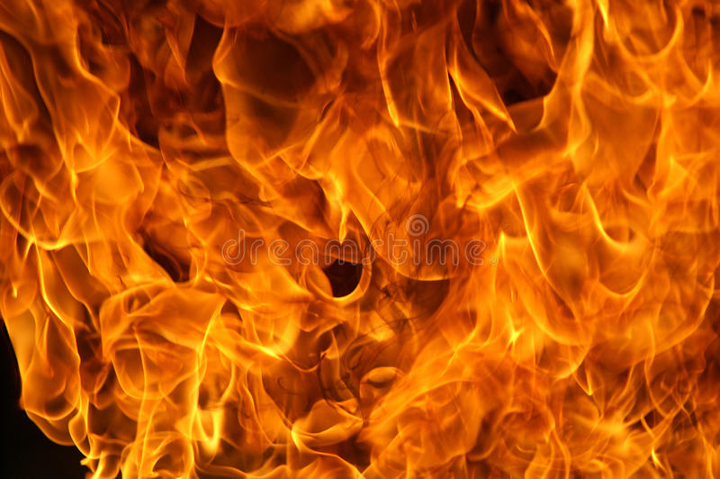 Flat fire. Fire fighters at large flat fire royalty free stock image