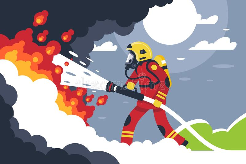 Flat fire fighting man puts out fire. Concept brave profession, helping service with burn. Vector illustration royalty free illustration