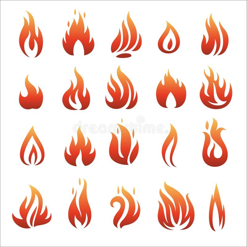 Flat fire icons royalty free illustration