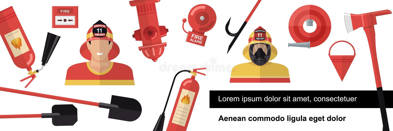 Flat Firefighter Colorful Template. With firemen shovels axe alarm bell fire hydrant extinguishers hose bucket vector illustration royalty free illustration