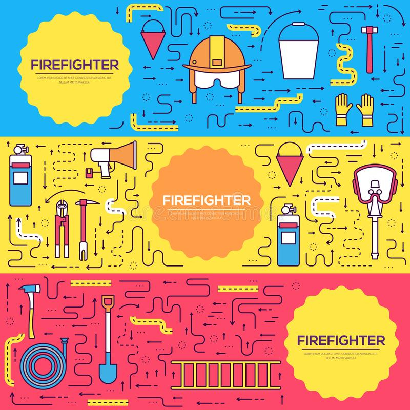 Flat firefighter uniform vector brochure cards thin line set. first help template of flyear, magazines, posters, book. Cover, banners. Layout instruments stock illustration