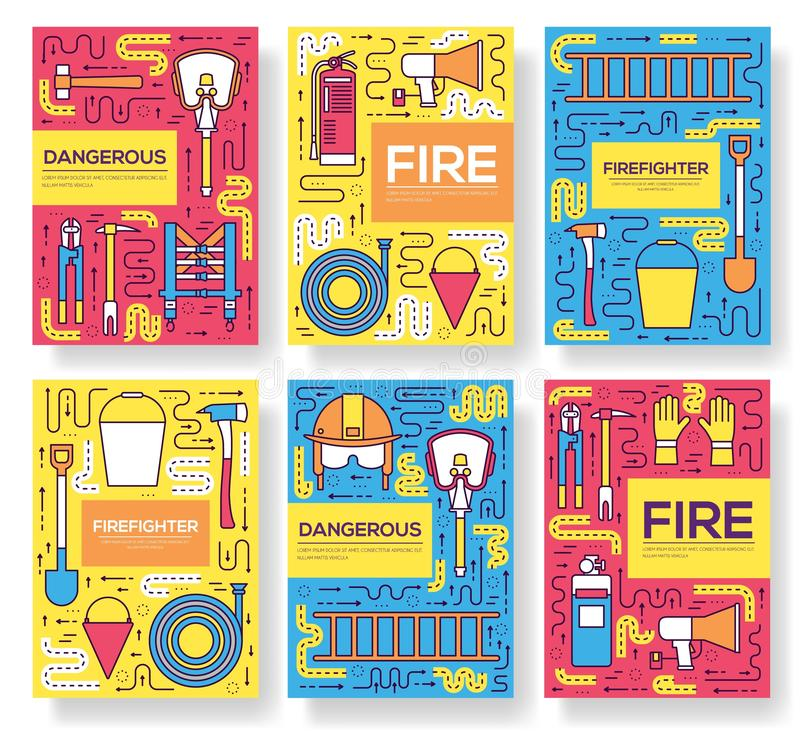 Flat firefighter uniform vector brochure cards thin line set. first help template of flyear, magazines, posters, book. Cover, banners. Layout instruments royalty free illustration