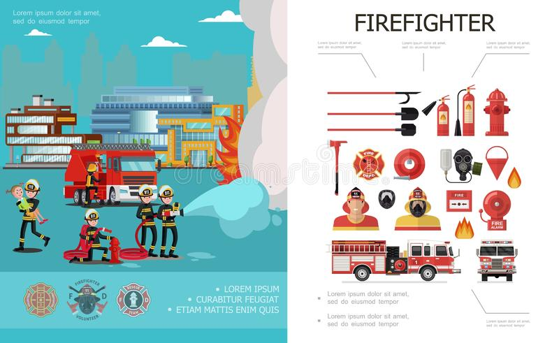 Flat Firefighting Colorful Concept royalty free illustration