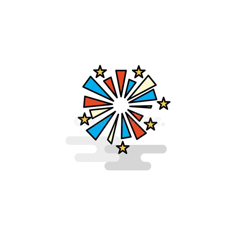Flat Fireworks Icon. Vector vector illustration