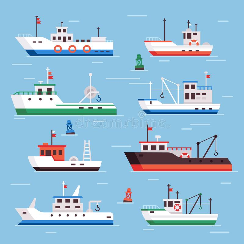 Flat fishing boats. Commercial fishery ships, seafood industry ship and fisher boat vector collection. Flat fishing boats. Commercial fishery ships, seafood royalty free illustration