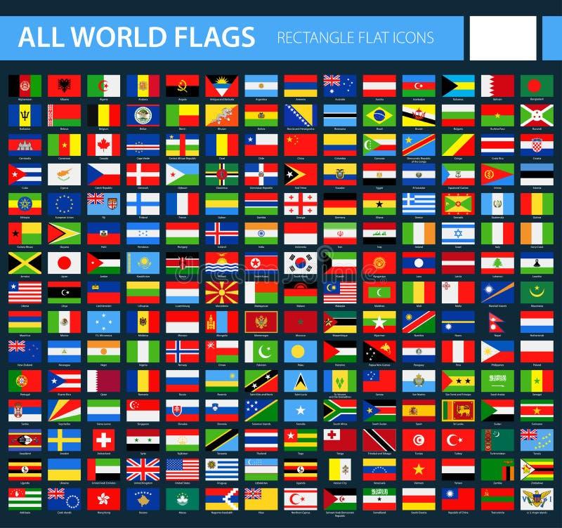 Flat Flag Icons on Black Background - All World Vector vector illustration