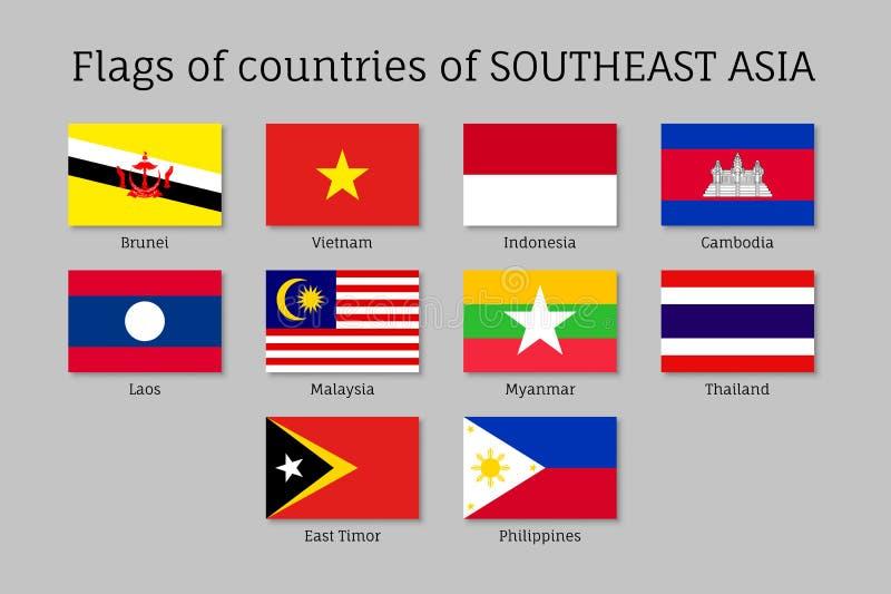 Flat flags of AEC members stock illustration