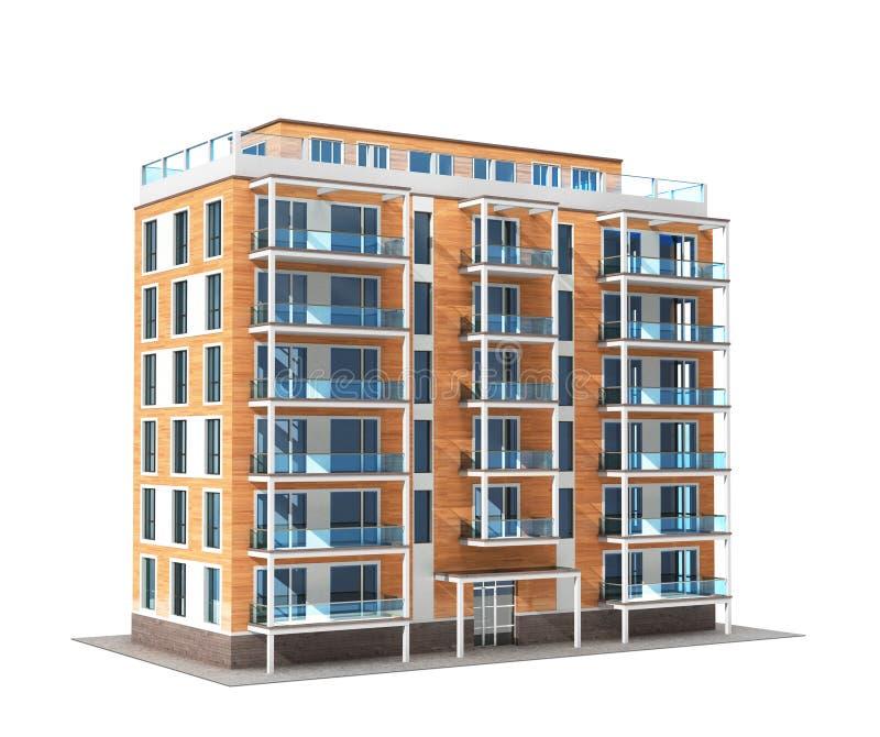 Flat of flatgebouw op witte achtergrond wordt geïsoleerd die stock illustratie