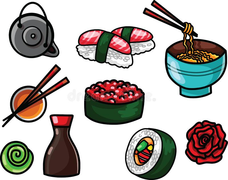 Flat food vector illustration with asian snacks, tea, noodles and Sushi rolls traditional seaweed. Asia cuisine restaurant delicious vector illustration