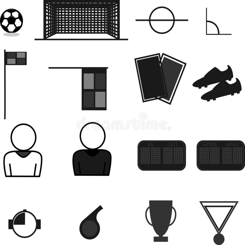 Flat football tools black and white. All tools foolball required royalty free illustration