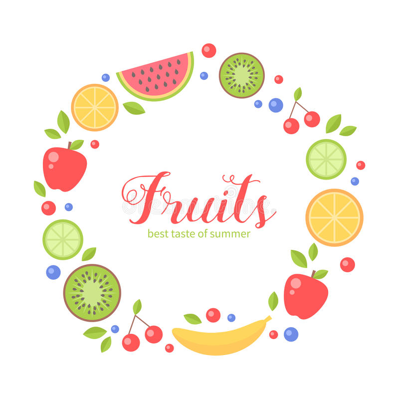 Flat fruits collection circle card. Flat fresh fruits collection circle card for greeting and invitation templates, health commercial, print and web-design stock illustration