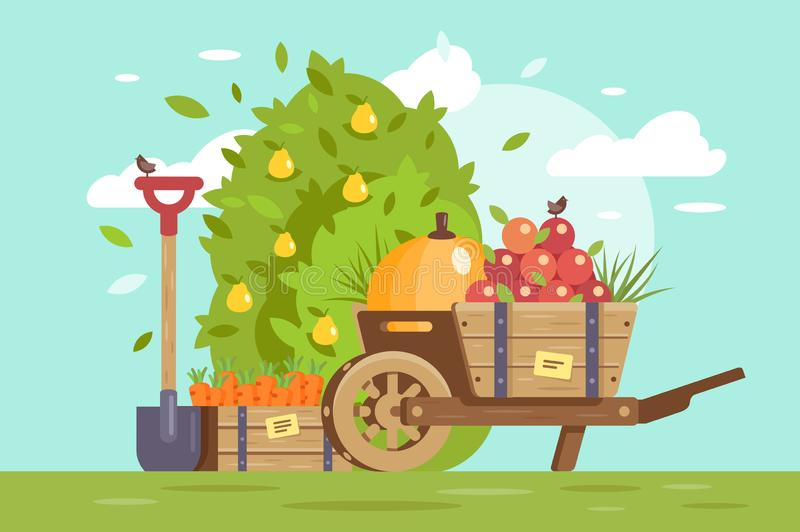 Flat fruits and vegetables, cart with apple, box with carrot and farm equipment, shovel. stock illustration
