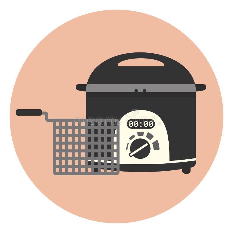 Flat fryer icon, chip pan, deep frying machine. Flat electric home fryer icon, chip pan, kitchen appliance, deep frying machine stock illustration