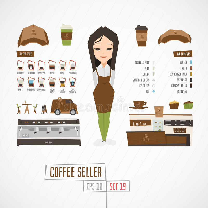 Flat funny charatcer coffee seller stock illustration