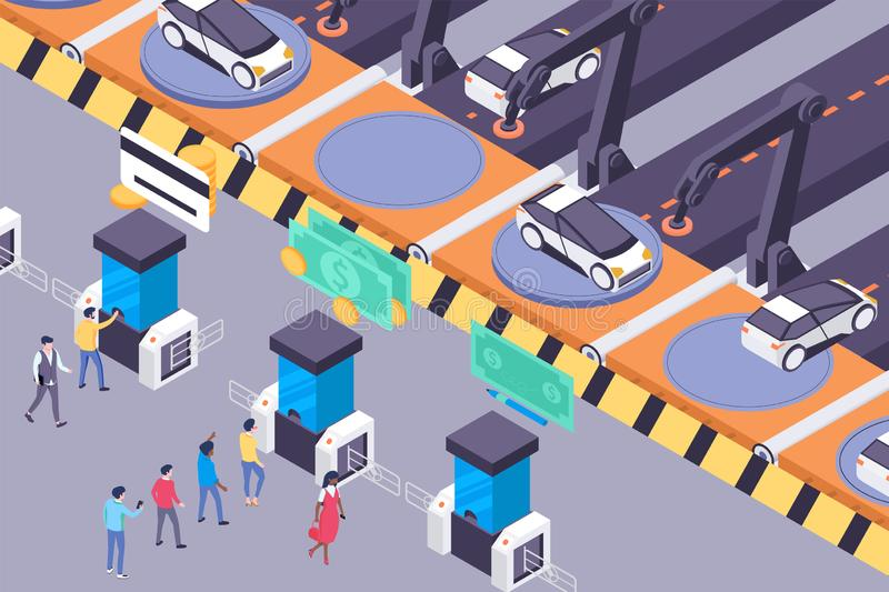 Flat future transportation services with urban car and passengers. royalty free illustration