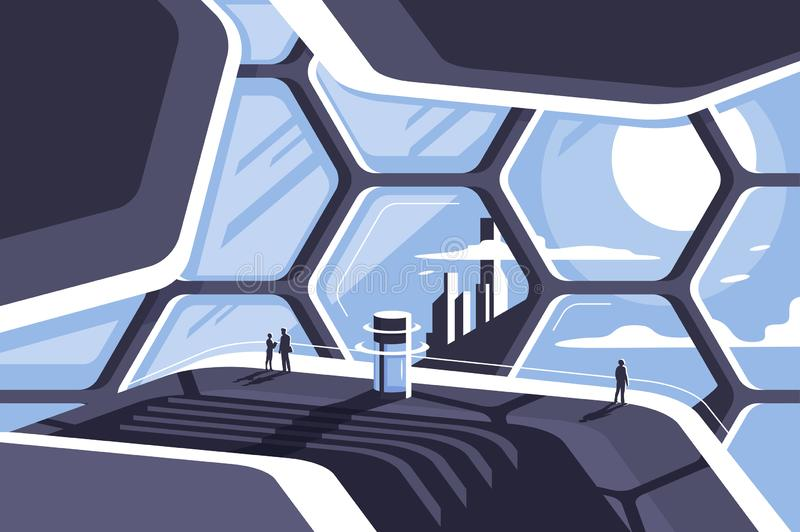 Flat futuristic architecture honeycomb house with observation deck and people. royalty free illustration