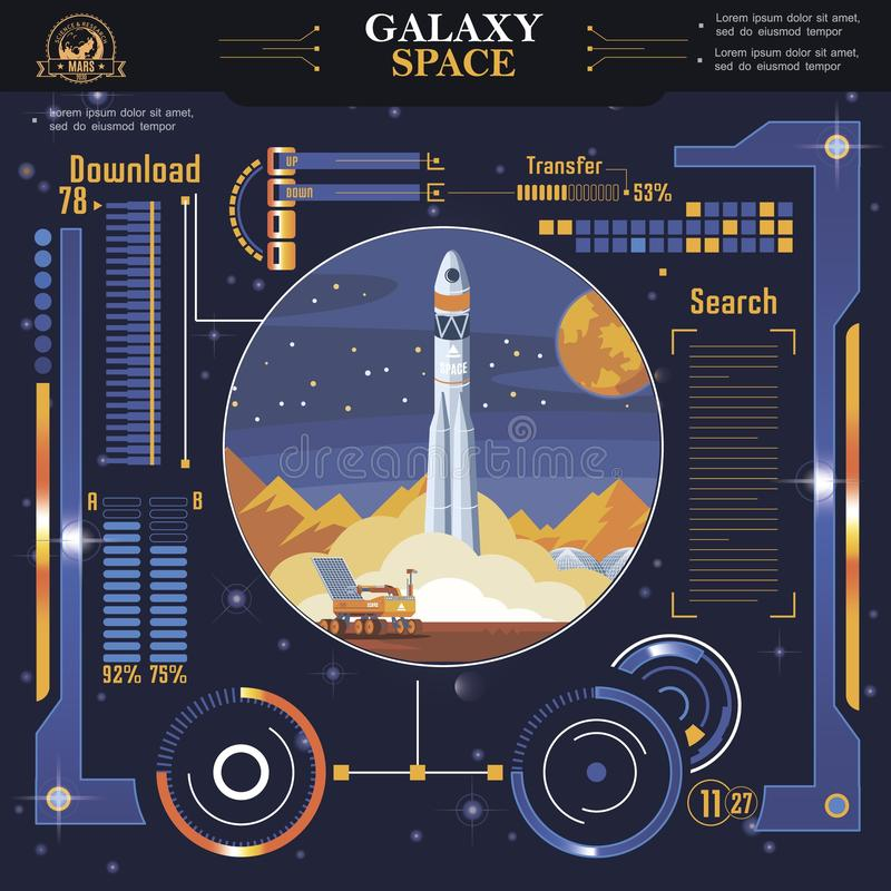 Flat Futuristic Space Interface Template royalty free illustration