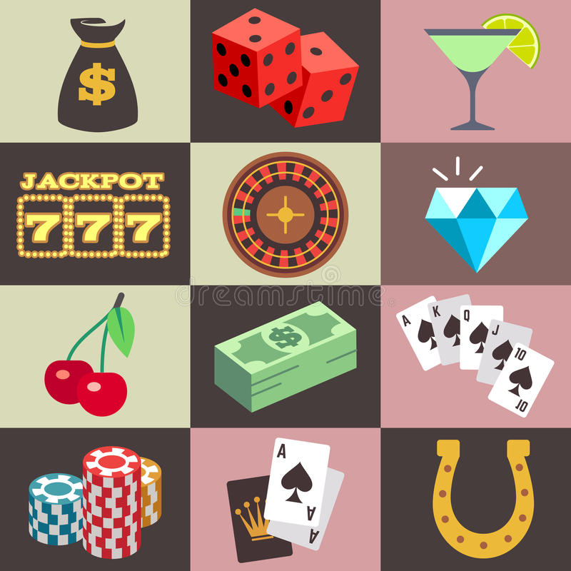 Flat gambling, casino, money, win, jackpot, luck vector icons. Gambling casino, win money jackpot vector. Set of icon for gambling game, illustration of dice and stock illustration