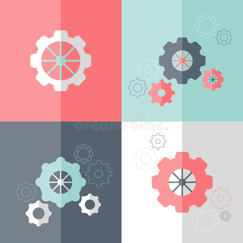 Flat gear wheel icons set royalty free illustration