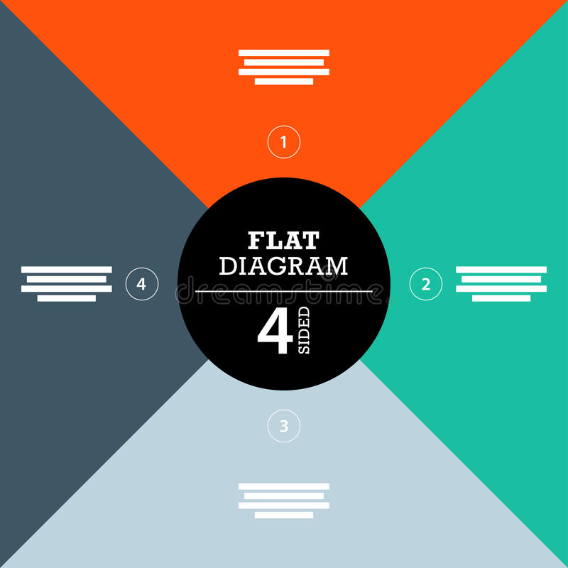 Flat geometric diagram template for your business presentation with text areas and icons. Vector infographic graphic design royalty free illustration